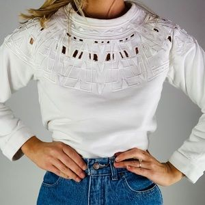 SEA NY Cotton Embroidered Beaded White Sweatshirt